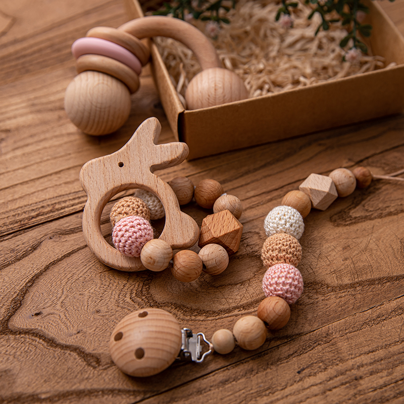 3pc/Set Baby Wooden Music Rattle Pacifier Dummy Clips Teething Bracelet Hanging Mobile Holder Gym Baby Newborn Stroller Game Toy(China)