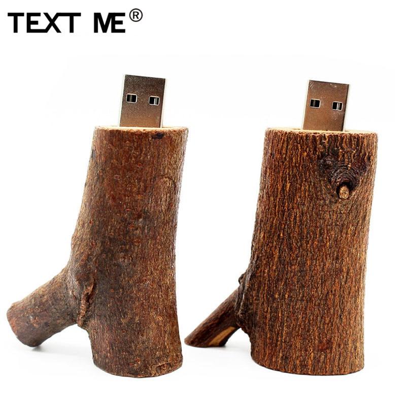 TEXT ME Wood Model Natural Tree Shrew Wooden Usb Flash Drive Pendrive 4GB 8GB 16GB 32GB Usb 2.0 64GB Usb Flash Drive