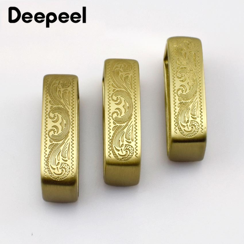 Deepeel 40*14mm Men's Pure Leather Ring Belt Buckles Solid Brass Metal Copper Solid Brass Men Belt Circle Hardware  Accessories