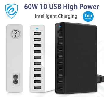 10 Port Multiple USB Charger Fast Charging 60W Multi Wall Charger Power Adapter For iPhone Samsung Xiaomi Mobile Phone Charger 1