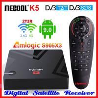 Mecool-tv box inteligente k5 amlogic s905x3, com android 9.0, 4k, receptor de satélite, wi-fi duplo