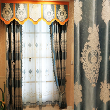 European Style Jacquard Curtains for Living Room Blue High Shading Embroidery Curtains for Bedroom Dining Room Villa Window