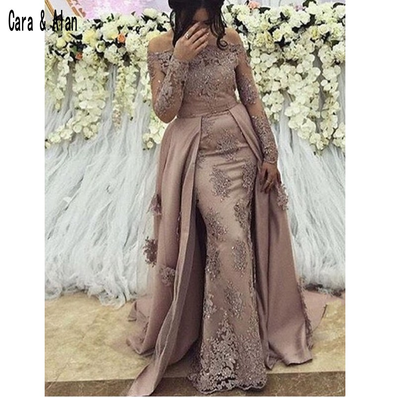 Modest Arabic Long Sleeve Evening Dresses Prom Gown 2019 Elegant Women Formal Gala Plus Size Party Dress