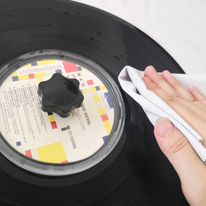 Image 3 - LP Vinyl Record Cleaner Clamp Record Label Saver Acrylic Clean Tools Cloth