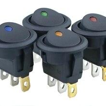 1Pcs Car 12V 3 Pin Round Rocker Dot Boat LED Light Toggle Switch SPST ON/OFF