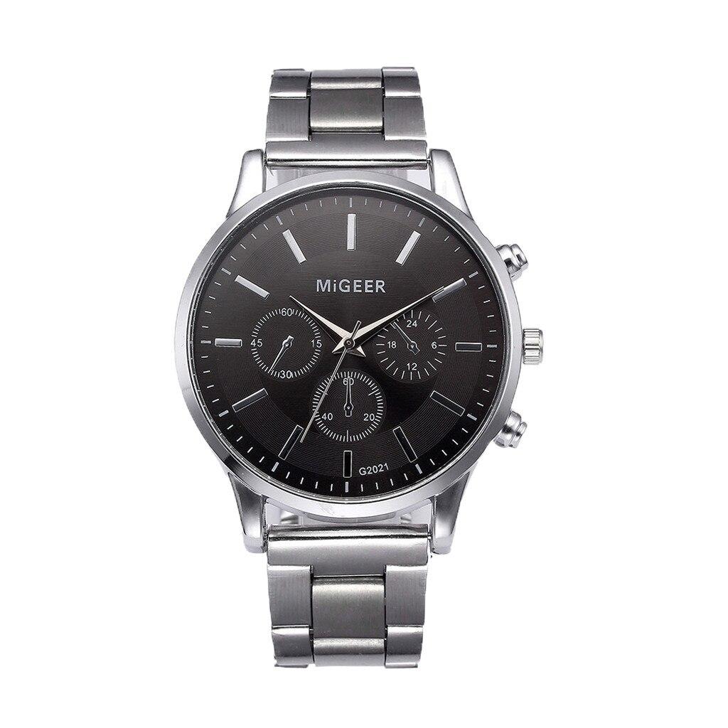 Fashion Man Crystal Stainless Steel Watches Analog Quartz Round Sport Wrist Watch Relogios Masculino