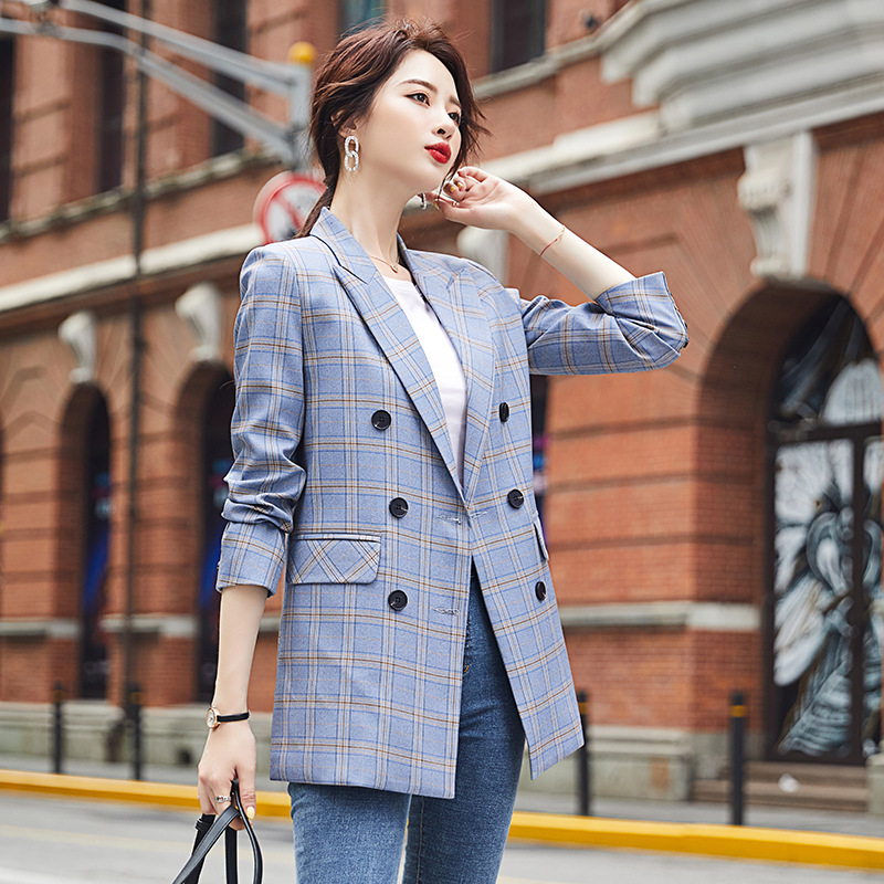 Autumn fashion women's office jacket suit 2020 new loose plaid ladies mid-length jacket Casual Blazer Female high quality