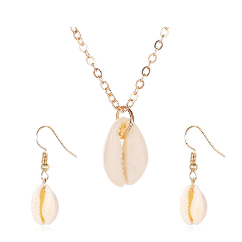New Shell Pendant Jewelry Sets For Women Gold Color 2PC Multilayer Necklace Earrings Set Bohemia Jewellry African Jewelry Set