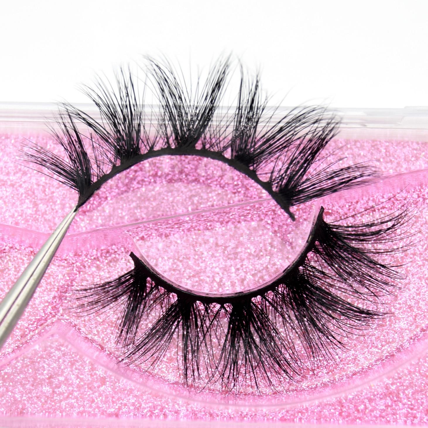 Visofree Luxury 5D Mink Hair False Eyelashes Wispy Cross Fluffy Mink Lashes Extension Tools Makeup Handmade Mink Eyelashes K12