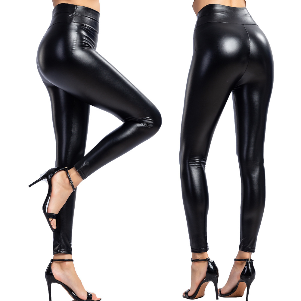 2020 Summer PU Leather Leggings Women High Waist Skinny Push Up Leggings Sexy Elastic Trousers Stretch Plus Size Jeggings S-5XL