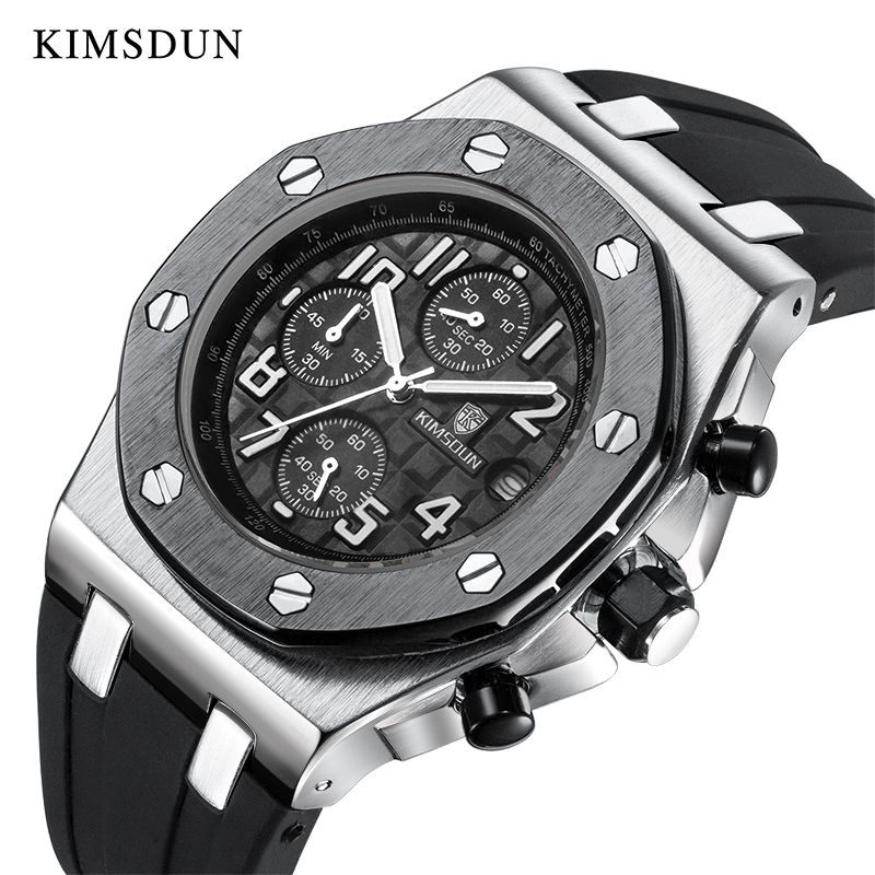 KIMSDUN Top Luxury Brand Mens Quartz Timing Multifunction Watch AP Royal Oak Classic Style Silicone Rubber Clock WristWatch 2020
