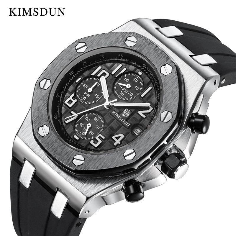 KIMSDUN Top Luxury Brand Mens Quartz Timing Multifunction Watch AP Royal Oak Classic Style Silicone Rubber Clock WristWatch 2020
