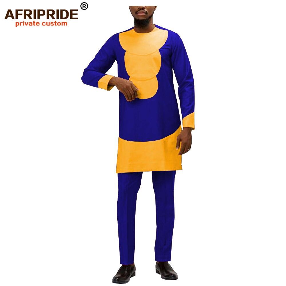 africa ankara spring&autumn pants set for men AFRIPRIDE full sleeve pull over side split top+pants men's cotton set A1916009