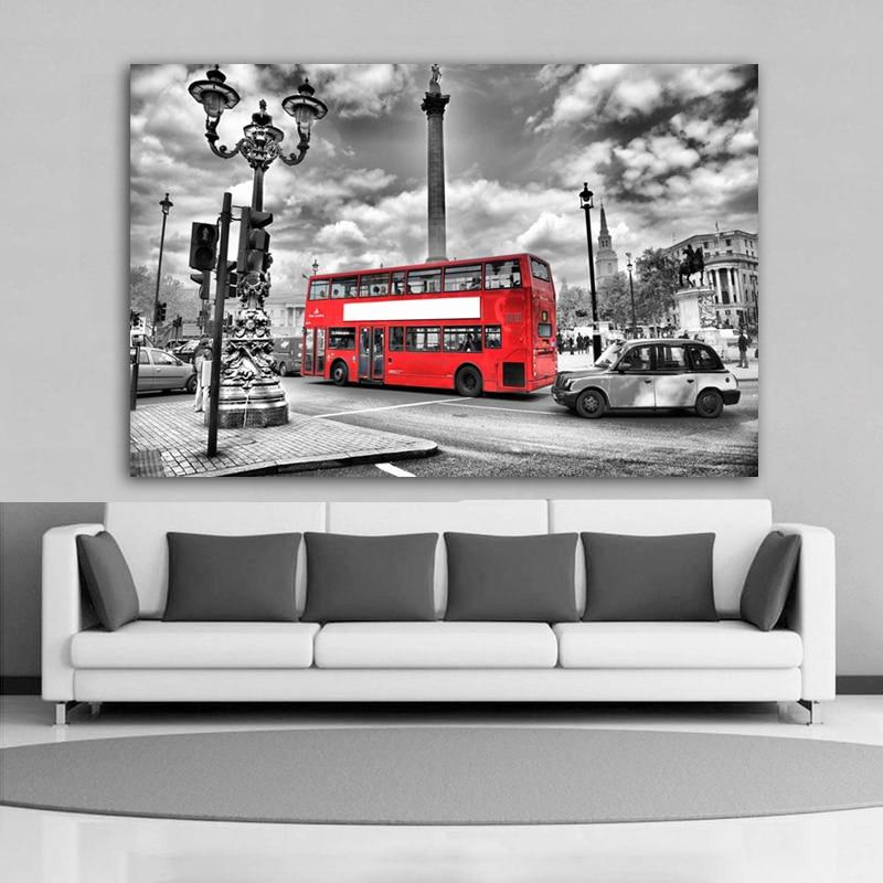 London tájkép piros autó fekete-fehér otthoni modern dekoráció - Lakberendezés