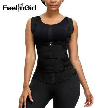 FeelinGirl Waist Trainer Vest 9 Steel Bones Sauna Sweat Slimming Belt Adjustable Waist Cincher Shapewear Tummy Control Girdle