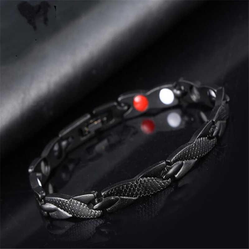 Modna męska bransoletka biżuteria Healing magnetyczny tytanu Bio bransoletka energetyczna dla mężczyzn ciśnienie krwi akcesoria srebrne bransoletki