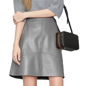 woman skirts elegant plus size 2020 new fashion korean style genuine real leather high waist mini skirt womens