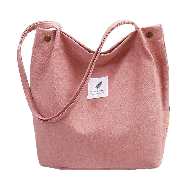 Artistic Indie Simple Campus WOMEN'S Bag Canvas Large Cloth Bag Hand Shoulder Shopping Bag