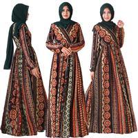 Ethnic Muslim Women Abaya V Neck Maxi Dress Robes A Line Dubai Kaftan Cocktail Vintage Loose Islamic Clothing Dress Oman Malay