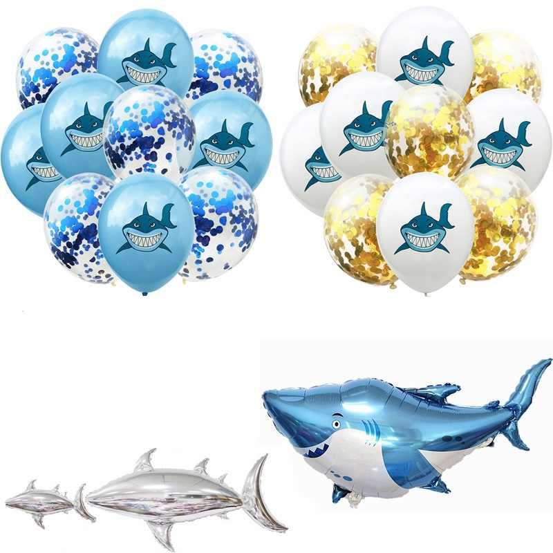 10 pcs 12 นิ้ว Shark Confetti บอลลูนงานเลี้ยงวันเกิดตกแต่ง Marine life Theme เลื่อม latex บอลลูนอาบน้ำเด็กเด็กของเล่น