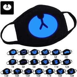 Милая мультяшная печать Маски чесаная хлопковая маска для губ дышащая теплая светится в темноте анти-Пылезащитная маска намордник для