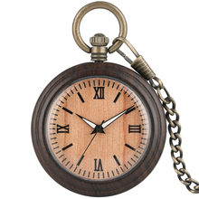 Buy Classic Ebony Black  Delicate Dial Bronz Pocket Watches Necklacee Pendant Watch With Chain relojes de bolsillo para hombre directly from merchant!