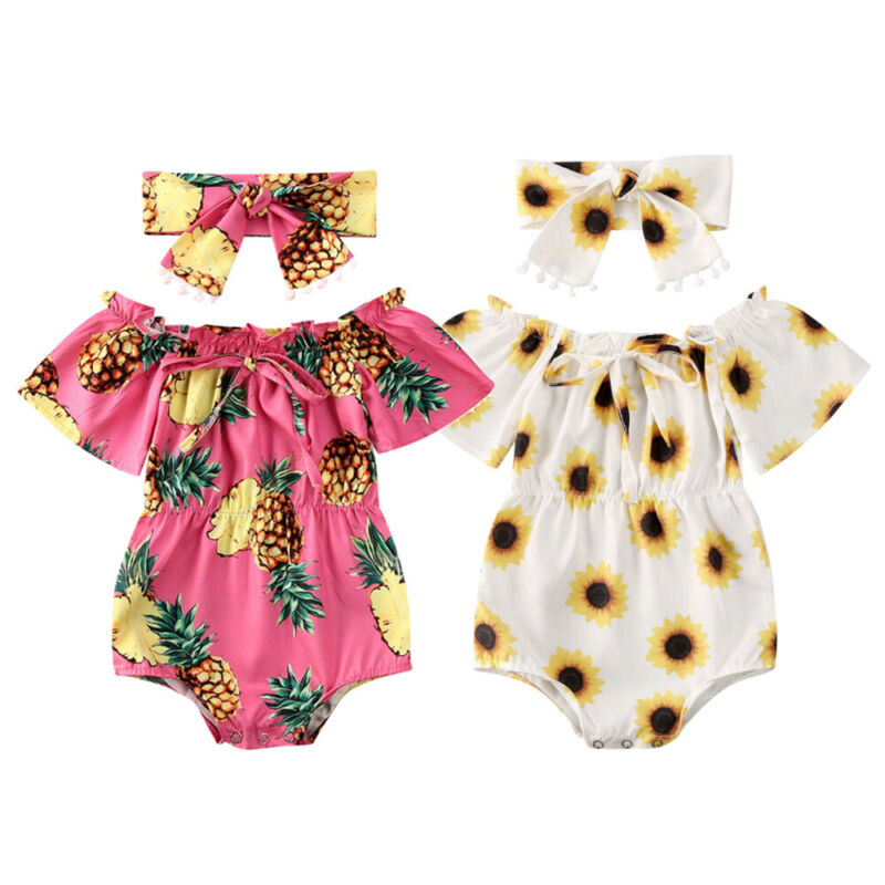 Cute Baby Girl Flowers Sets Newborn Baby Girl Summer Outfits 2Pcs Off Shoulder Bow Romper+Bow Headband Baby Girl Clothes 0-24M