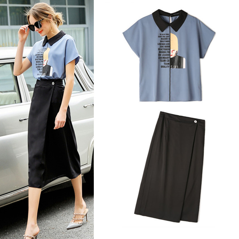 Skirt Suit Women Office Ladies Skirt Suits Loose Cartoon Print Elegant Chiffon Blouses And Black Drapped Skirts Suits Set NS639