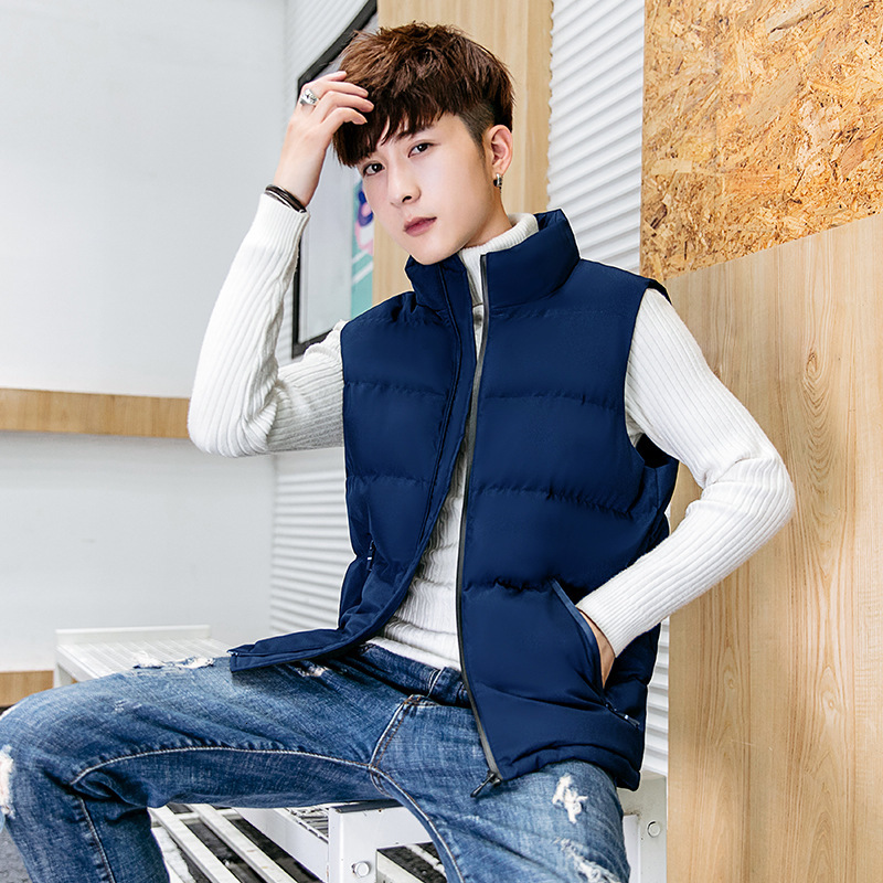 Down Cotton Vest Youth Long Fund Vest Male Waistcoat Self-cultivation Back Heart Loose Coat
