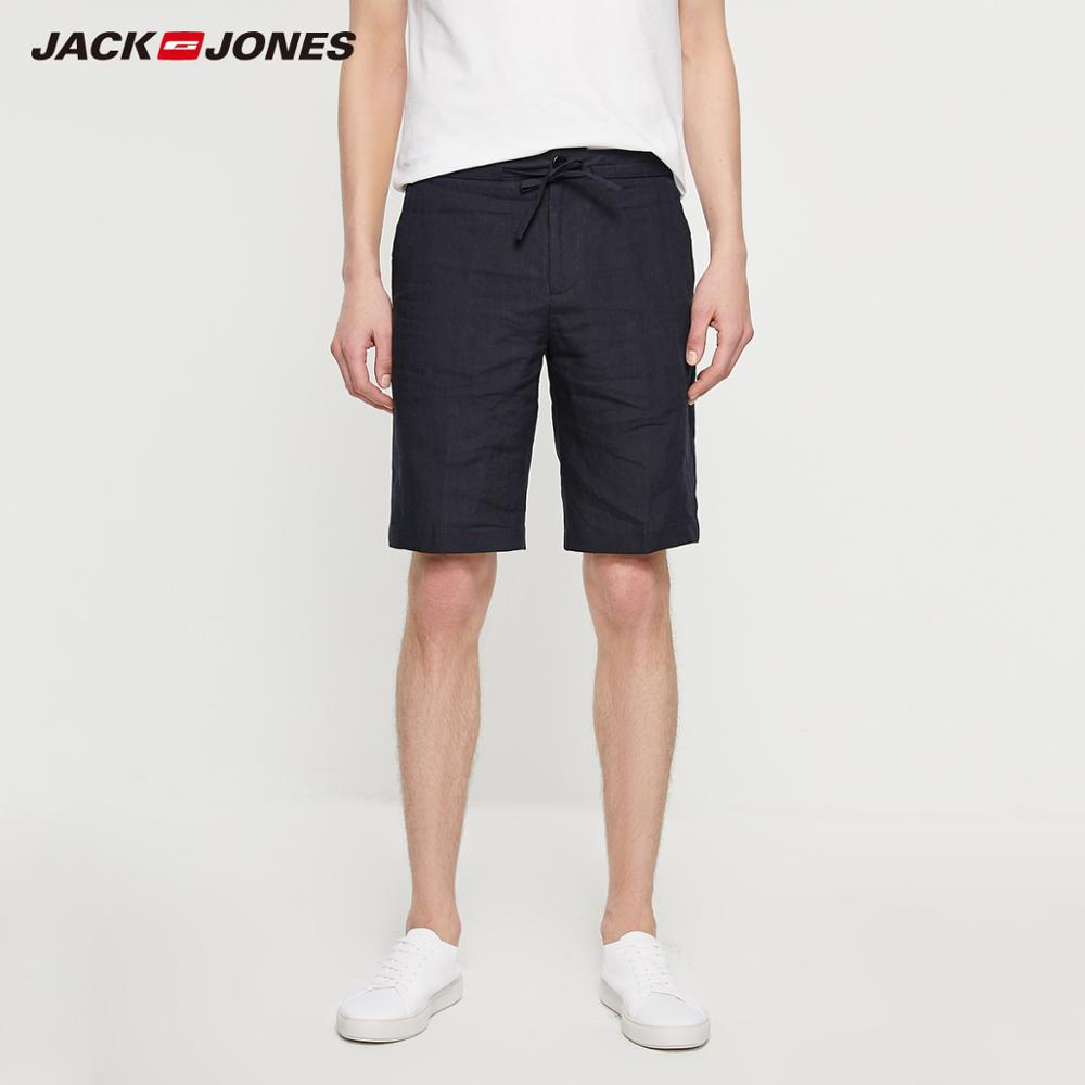 JackJones Spring & Summer Men's Casual Breathable Pure Color Linen Shorts Style| 219215528