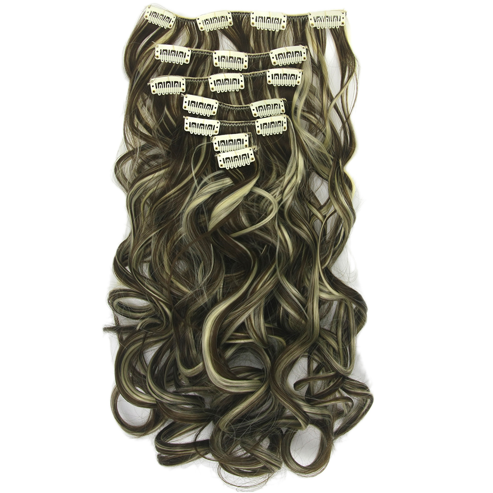 Soowee <font><b>16</b></font> Clips Long Curly Synthetic Hair on Hairpins Blonde Black Clip In Hair Extensions Set Full Head Accessories for Women image