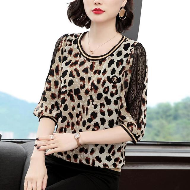 New Women Spring Summer Blouses Shirt Women Casual O-Neck Hollow Out Leopard Blouses Loose Tops High Quality K34 4