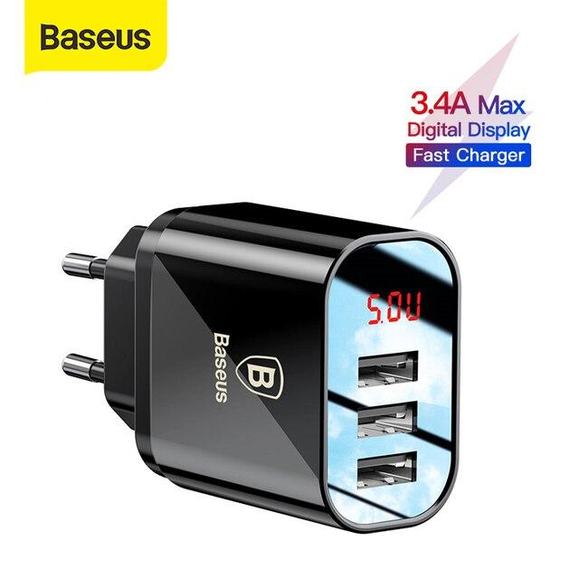 Baseus 3 bağlantı noktaları şarj cihazı dijital ekran 3.4A Max hızlı şarj duvar adaptörü şarj cihazı