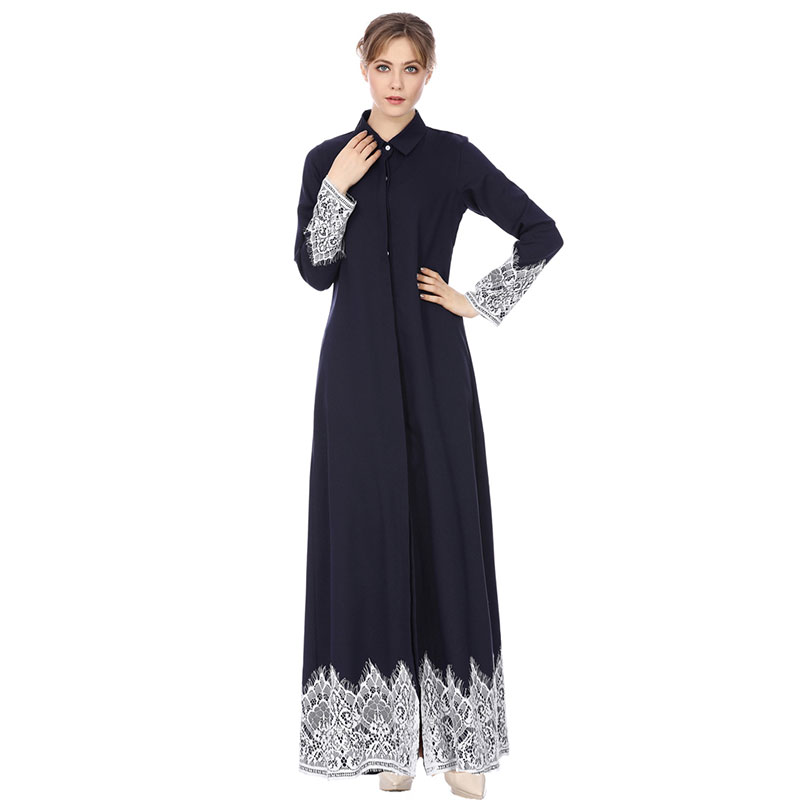 Fashion Muslim Robe Lace Long Robes Button Long Sleeve Women's Nightgown Robe Femme Night Gowns