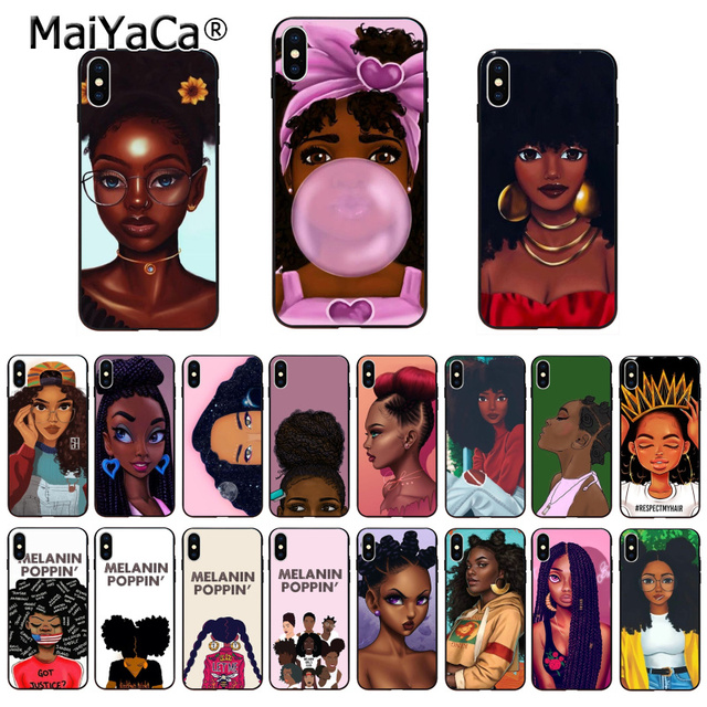 MaiYaCa  New Personalized MELANIN POPPIN Black Girl Phone Case for iPhone 11 Pro XS Max XR 8 7 6 6S Plus X 5S SE 1