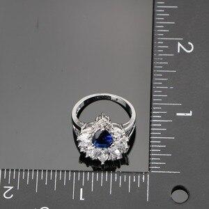 Image 5 - Conjunto de joyas de plata 925 para boda, conjunto de pendientes/colgante/Collar/anillos con piedras azules, circonita blanca, caja de regalo gratis