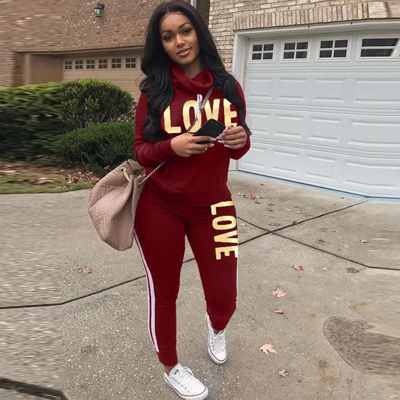 Fannic Plus Size 2 Piece Set  Women Outfit LOVE Letter Print High Neck Hoodies Sweatshirt Pants Tracksuit Streetwear Casual Suit