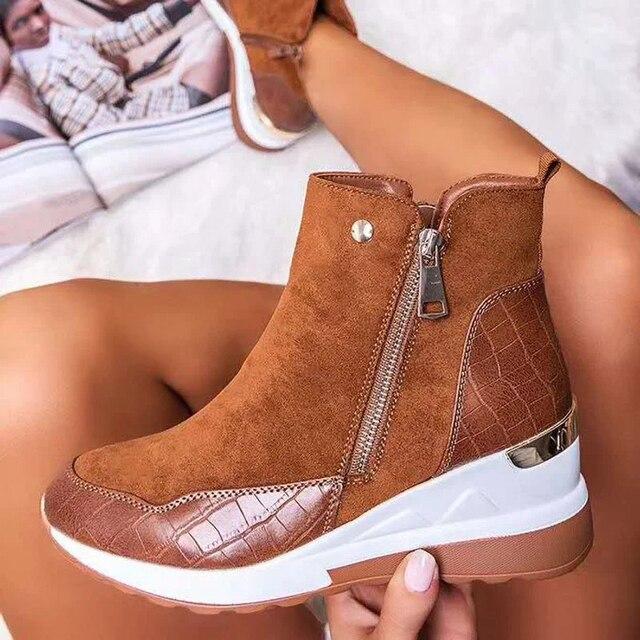 2020 New Suede Women Shoes Fashion Casual Women Shoes Comfortable Zipper Sneakers Waterproof High Top Platform Women Shoes