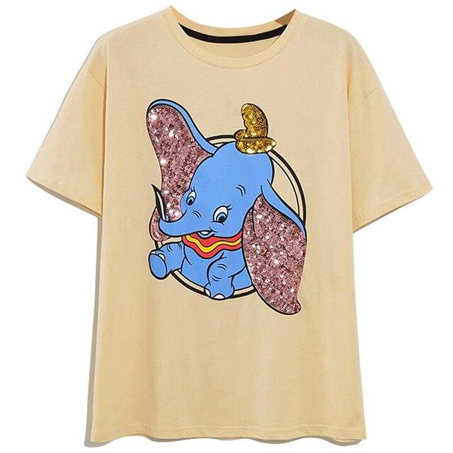 Disney Family T-Shirt Fashion Winnie the Pooh Mickey Mouse Stitch Fairy Dumbo SIMBA Cartoon Print Women T-Shirt Cotton Tee Tops 10