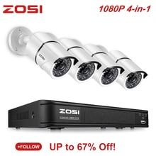 цена на ZOSI 4CH 4-in-1 AHD CVI TVI CVBS 1080P Video Security Camera System 2.0MP Surveillance Cameras CCTV 1080P HD-TVI DVR