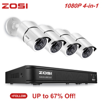 ZOSI 4CH 4 in 1 AHD CVI TVI CVBS 1080P Video Sicherheit Kamera System 2 0 MP Überwachung kameras CCTV 1080P HD TVI DVR|Überwachungssystem|Sicherheit und Schutz -