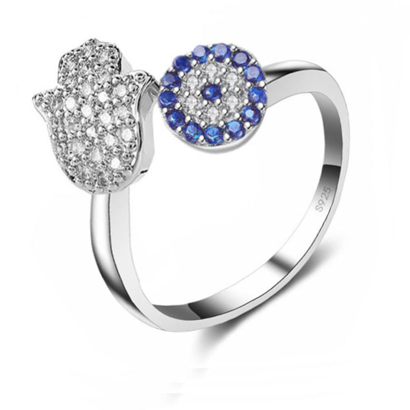 Hot Sale Genuine 925 Sterling Silver Open Finger Rings Blue CZ Stones Hand Pattern Luxury Finger Rings For Women Girl Engagement