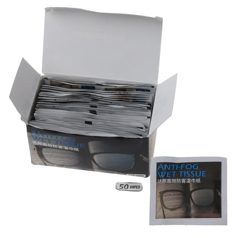 50 шт Анти-туман салфетки очки предварительно увлажненные салфетки противотуманные линзы Предотвращение запотевания очков салфетки