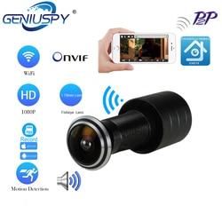 Deur Eye Hole Beveiliging 1080P Hd Onvif 1.78 Mm Lens Groothoek Fisheye Cctv Netwerk Mini Kijkgaatje Deur Wifi P Camera P2P Tf Card