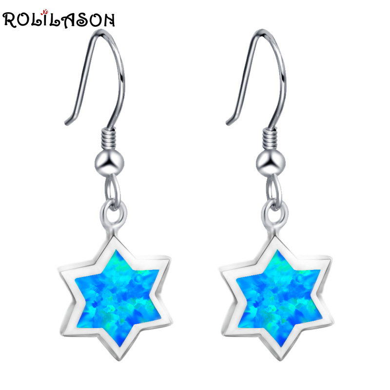 ROLILASON High Quality Precious Five Star Blue Fire Opal Silver Stamped Drop Earrings Fashion Jewelry for Lover OES667