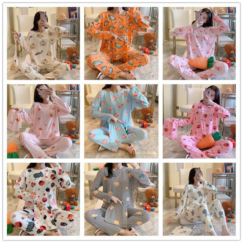 [18] New Style Spring Long Sleeve Cloth Bag Pajamas Cartoon Homewear Set M ~ Xxl Qmilch