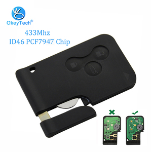 Image 1 - OkeyTech 3 Button 433Mhz ID46 PCF7947 Chip with Emergency Insert Blade Smart Remote Key For Renault Megane Scenic 2003 2008 Card
