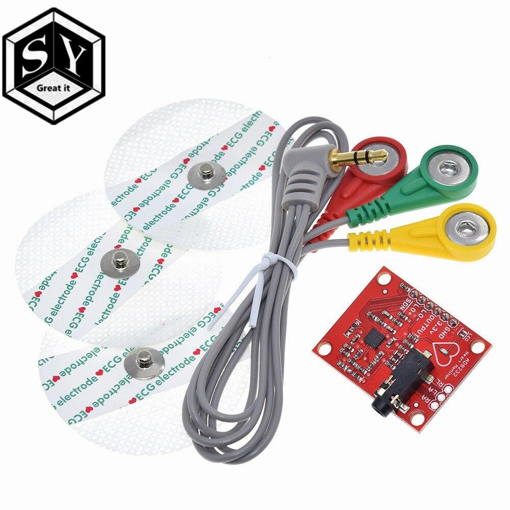 GREAT IT Ecg модуль AD8232 измерение показателей ЭКГ Пульс сердце ЭКГ датчик мониторинга модуль комплект для Arduino