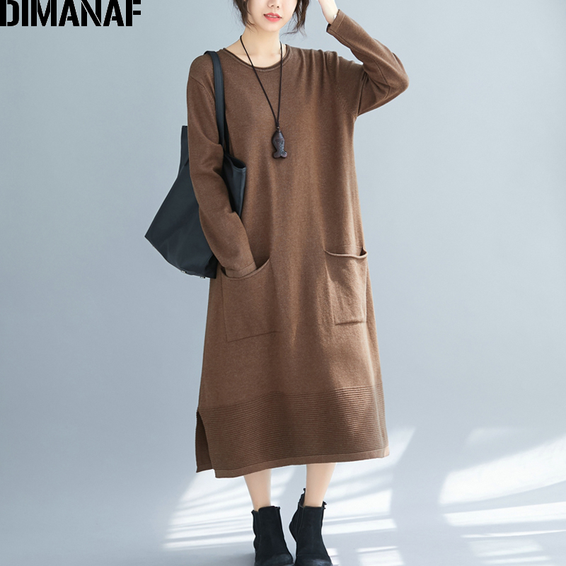 DIMANAF Plus Size Winter Thicken Women Sweater Dress Long Sleeve Knitting Vintage Loose Female Vestidos Lady Dress With Pockets