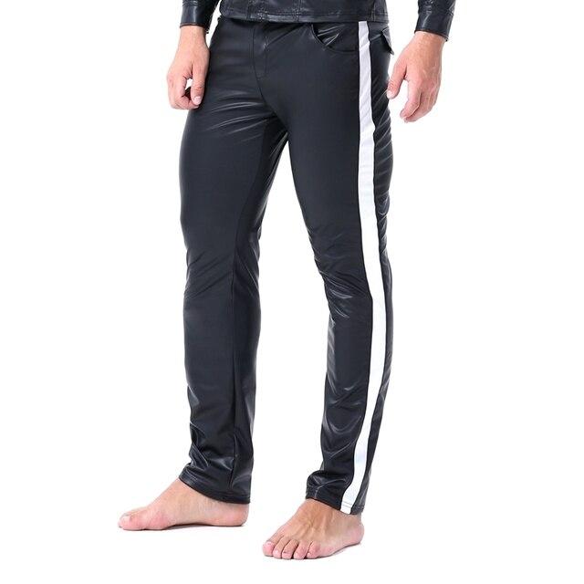 Erkekler seksi şerit Faux deri Lingerie egzotik pantolon PU lateks Catsuit fermuar kasık PVC Clubwear eşcinsel fetiş pantolon tayt zentai